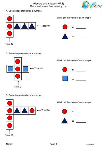 Algebra and Shapes Worksheet