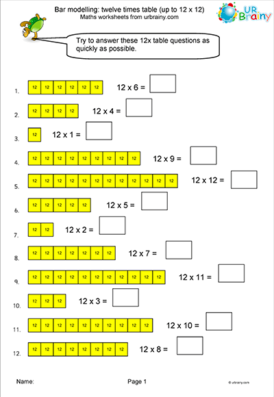 12 Times Table - Bar Modelling Worksheet