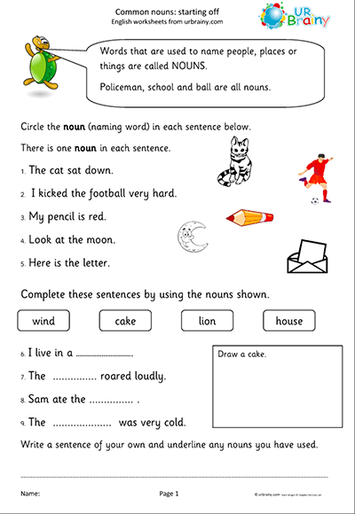 Common Nouns Starting Off Worksheet
